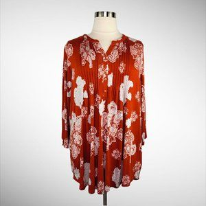 NWOT SIMPLY EMMA Henley Tunic Rust Floral 3X/24-26